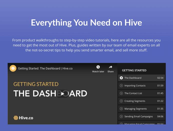 Hive's video walkthrough tutorials