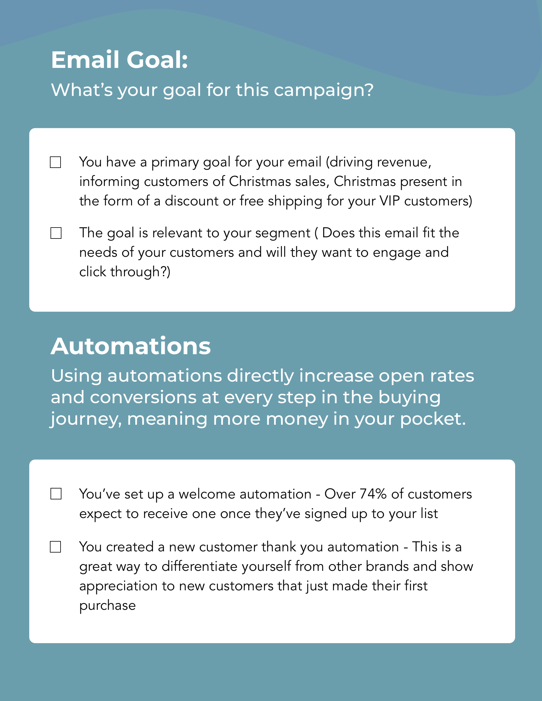 Hive.co Christmas Email Campaign Checklist Preview Page 3