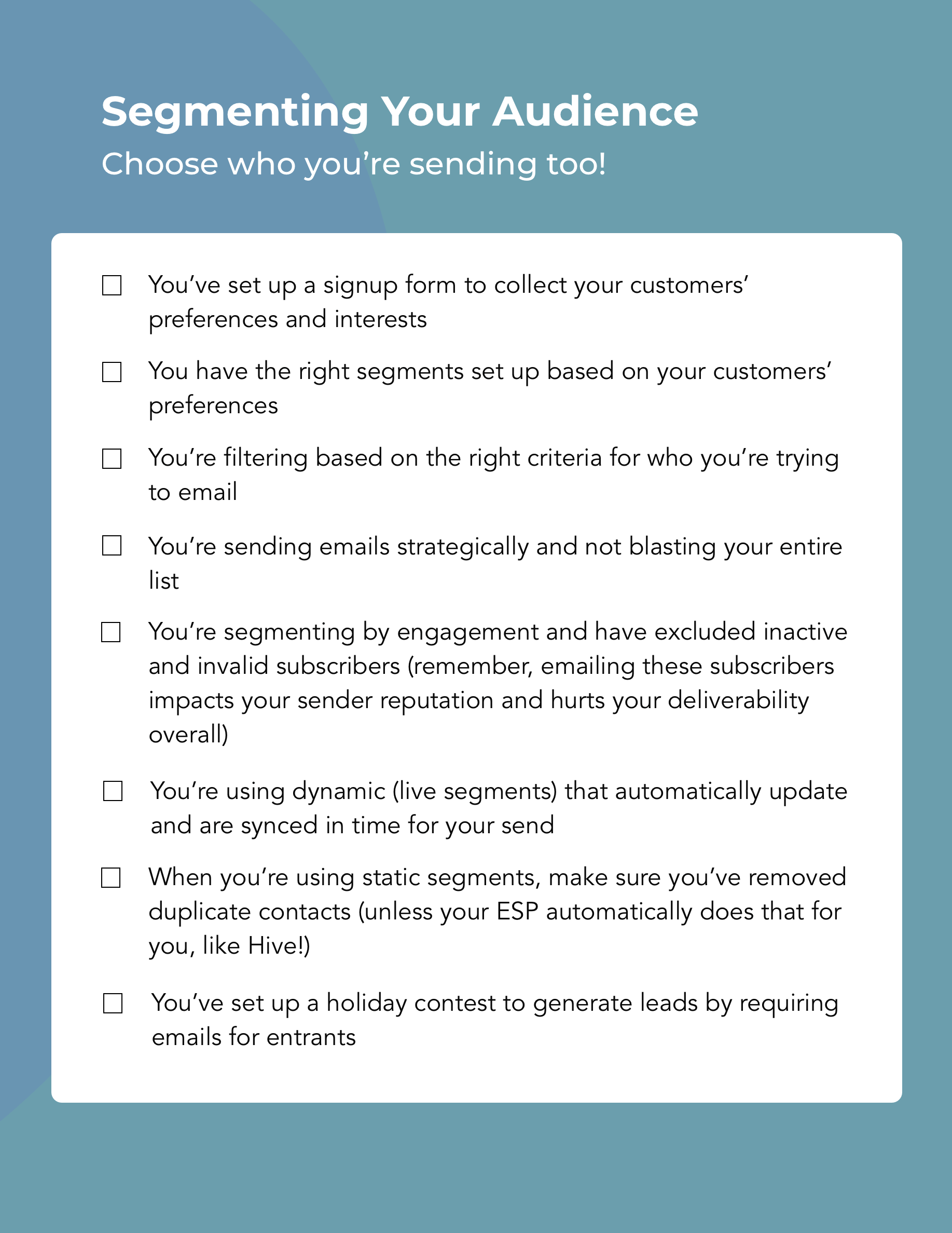 Hive.co Christmas Email Campaign Checklist Preview Page 2