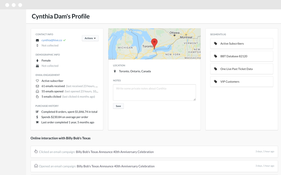 Hive's contact list product feature