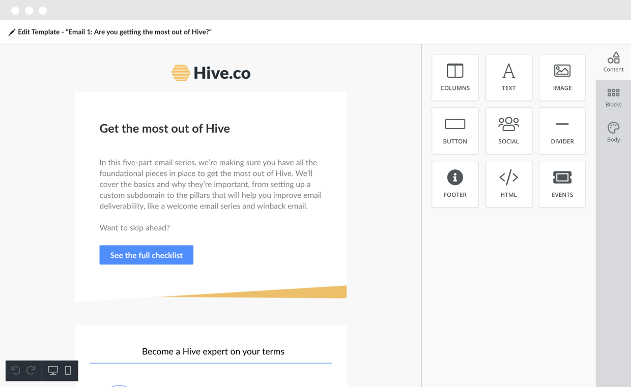 Hive drag and drop template editor to streamline email design