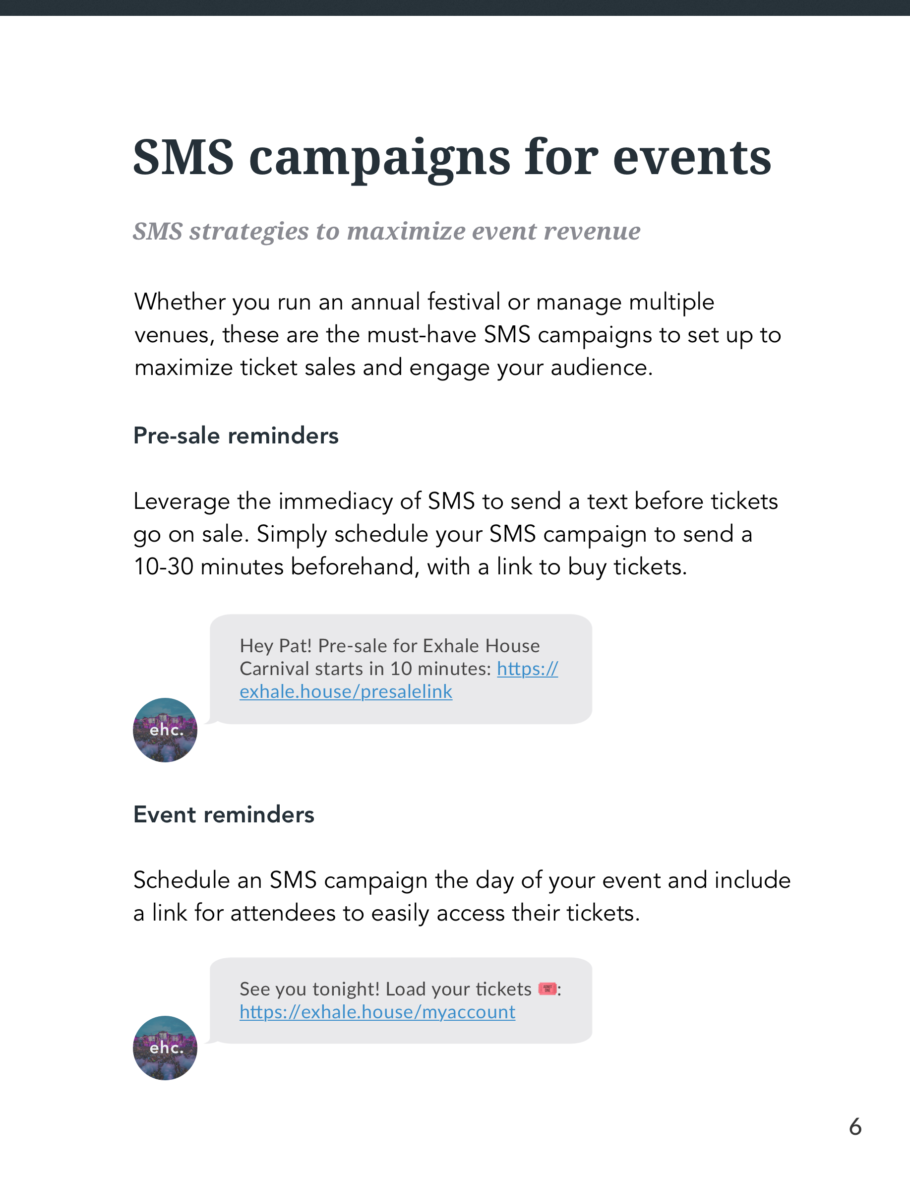SMS for Events Guide Page 6