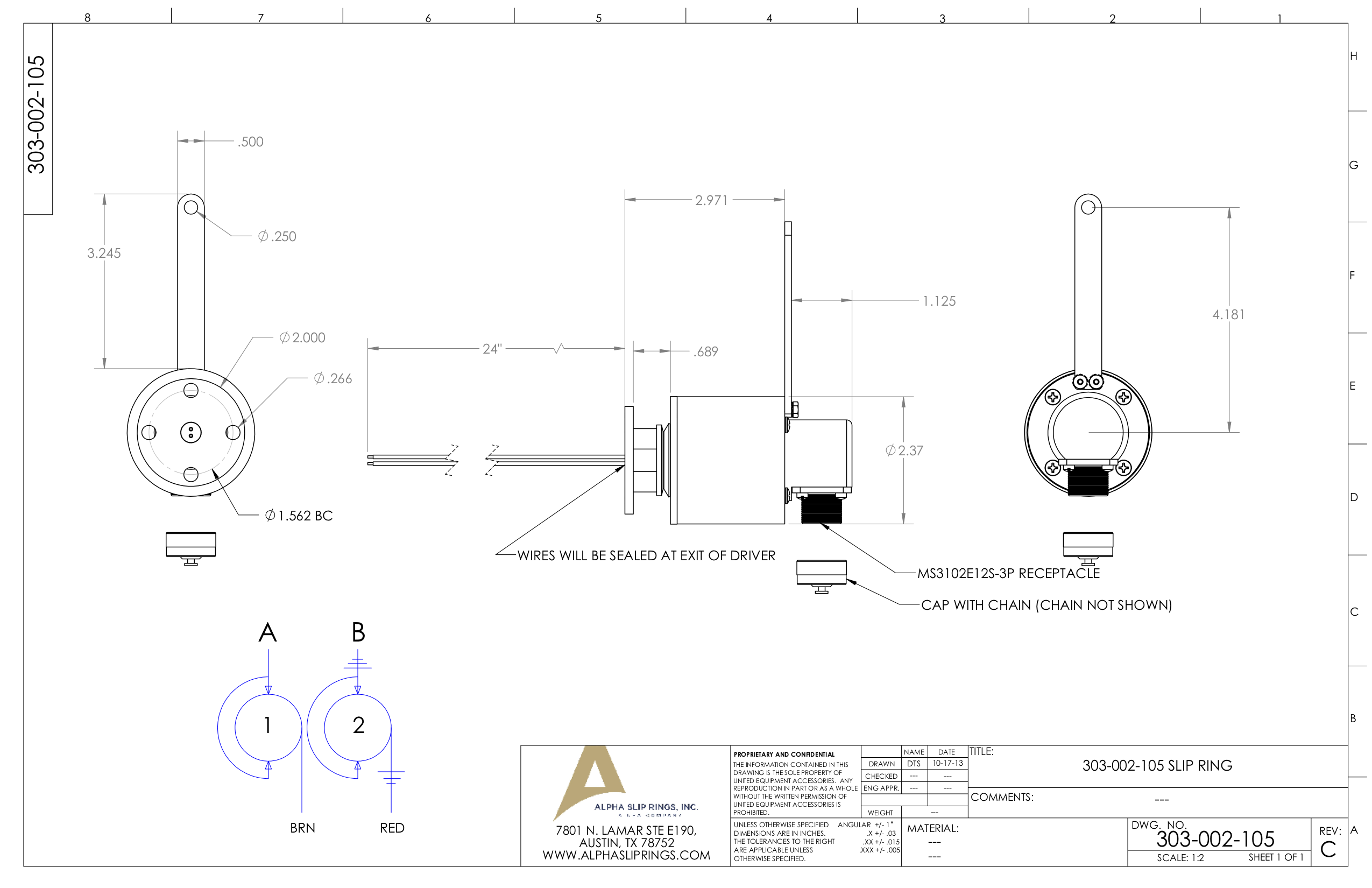 Through Bore Alpha Slip Ring Drawing