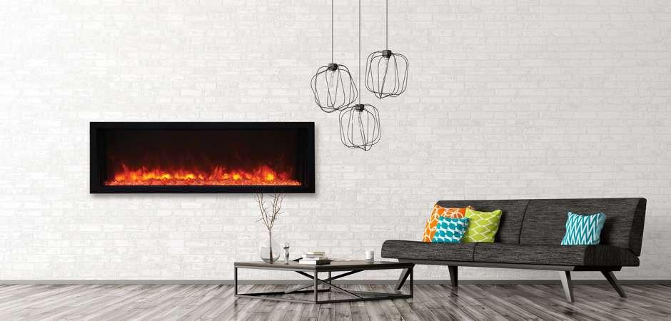 Intégration d'un foyer électrique mural moderne et ultra mince de 50″ modèle BI-50-EXTRASLIM de marque Amantii.