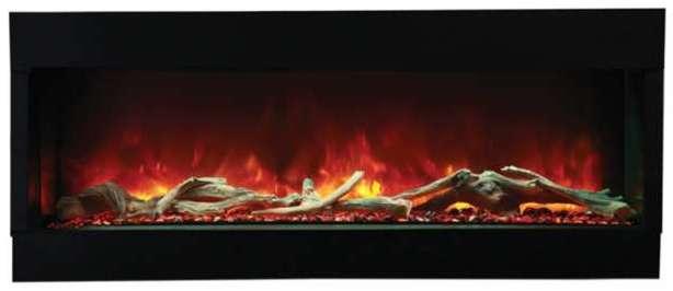 Foyer électrique 60-TRU-VIEW-XL d'Amantii utilisant le kit de média Designer, qui comprend un jeu de bûches de luxe de 15 pièces, des galets, du verre noir et un support ICE.