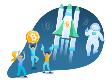 Bitcoin moon celebration, rocket and spaceman image