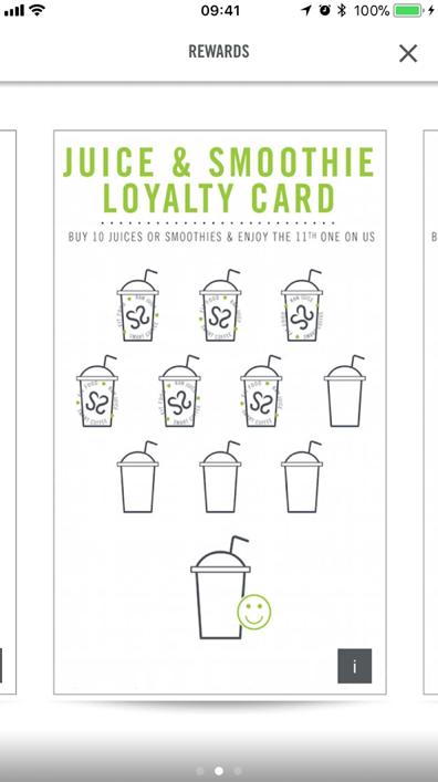 Crussh QSR restaurant app rewards loyalty stamp screenshot