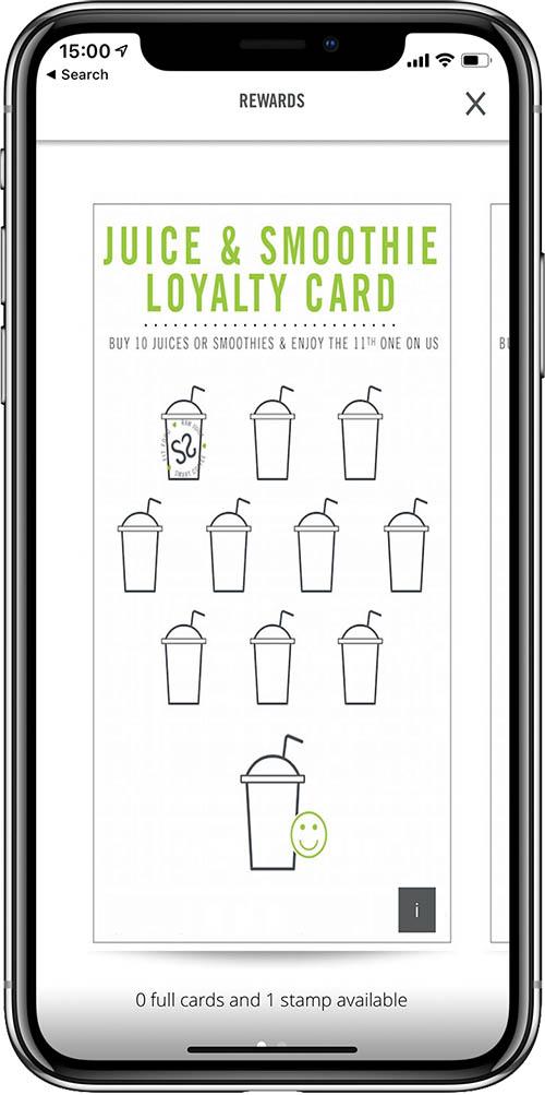 Crussh restaurant app iPhone X rewards loyalty juice & smoothie