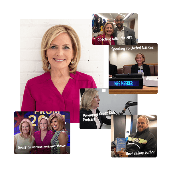 Dr Meg interviewing multiple people on her podcast and showing multiple speaking engagements.