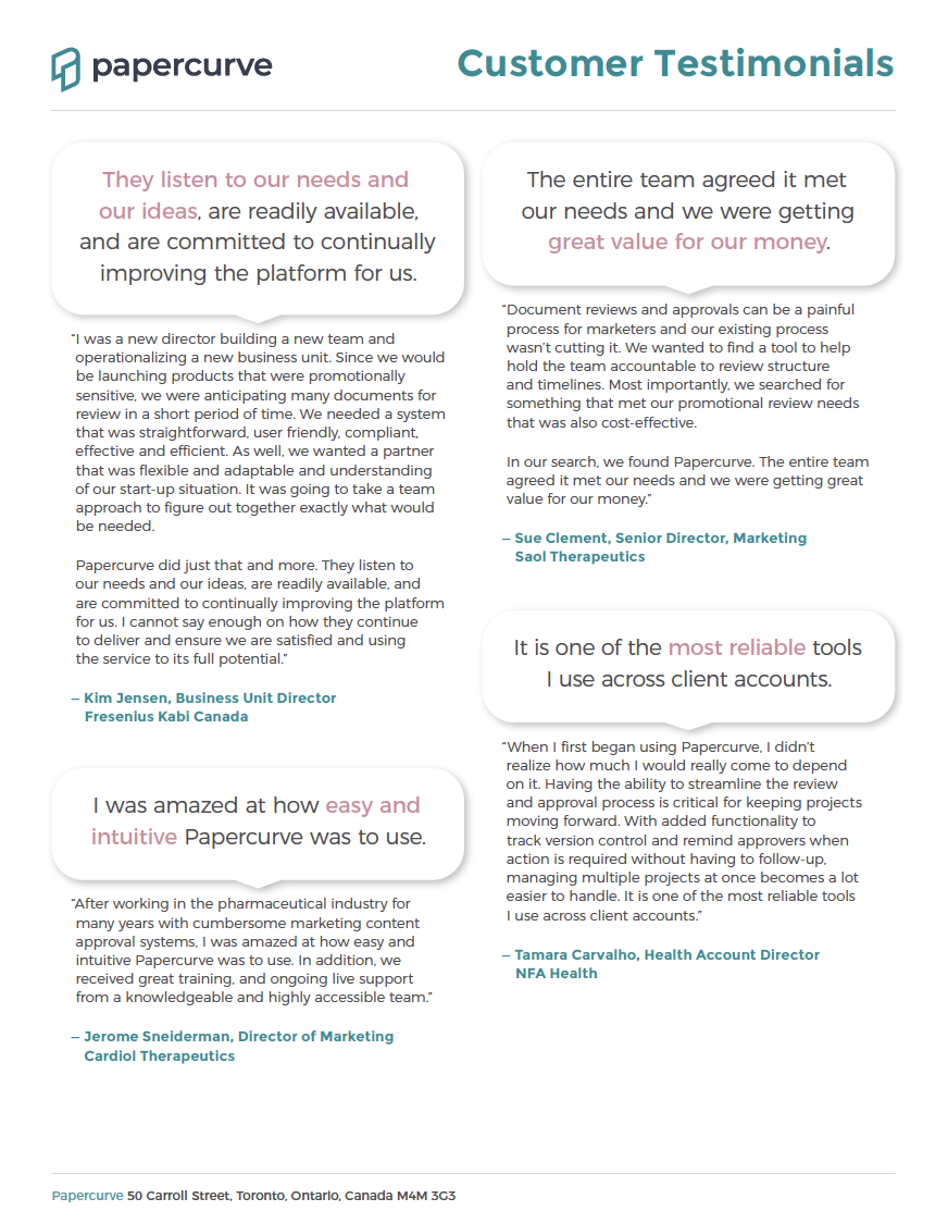 Cover page of: Papercurve Testimonials