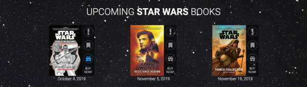 Three upcoming Star Wars novels against the backdrop of space