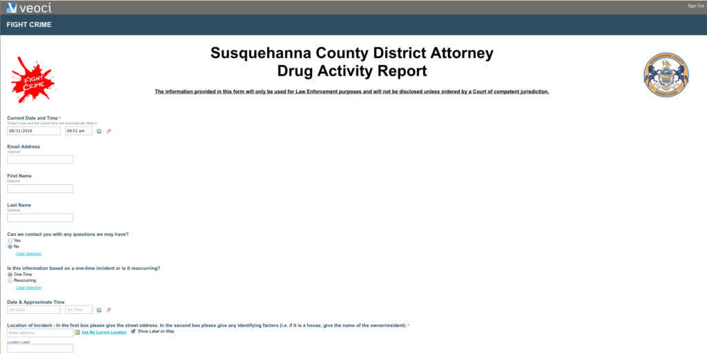 Susquehanna County Community Working Together to Report Drug Activity