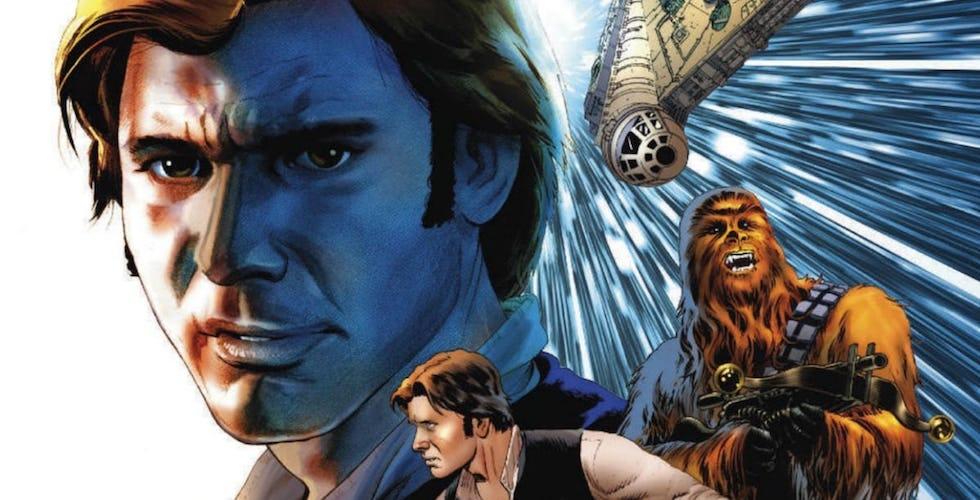Han Solo, Chewbacca, and the Millennium Falcon in the comics.