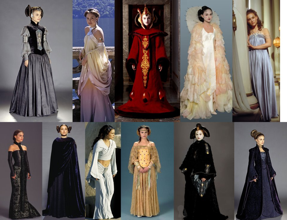 A number of Padme's outfits from the Prequel Trilogy