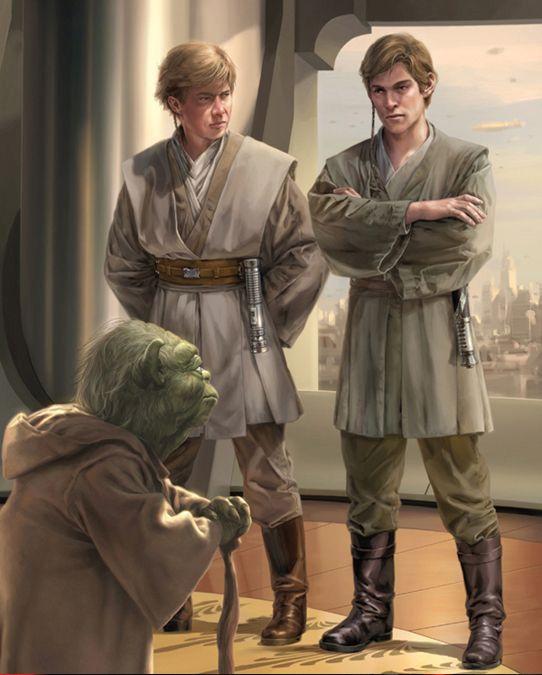Dooku and a fellow Padawan before Master Yoda