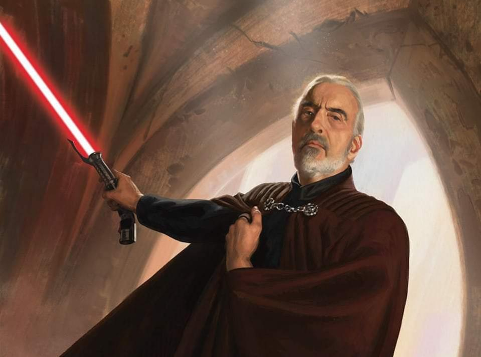 Count Dooku with his crimson lightsaber