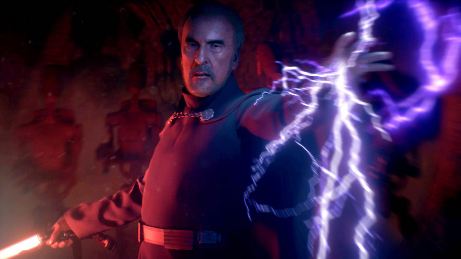Count Dooku shooting Force Lightning from Battlefront 2