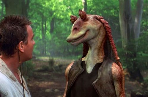 Obi-Wan meets Jar Jar on Naboo