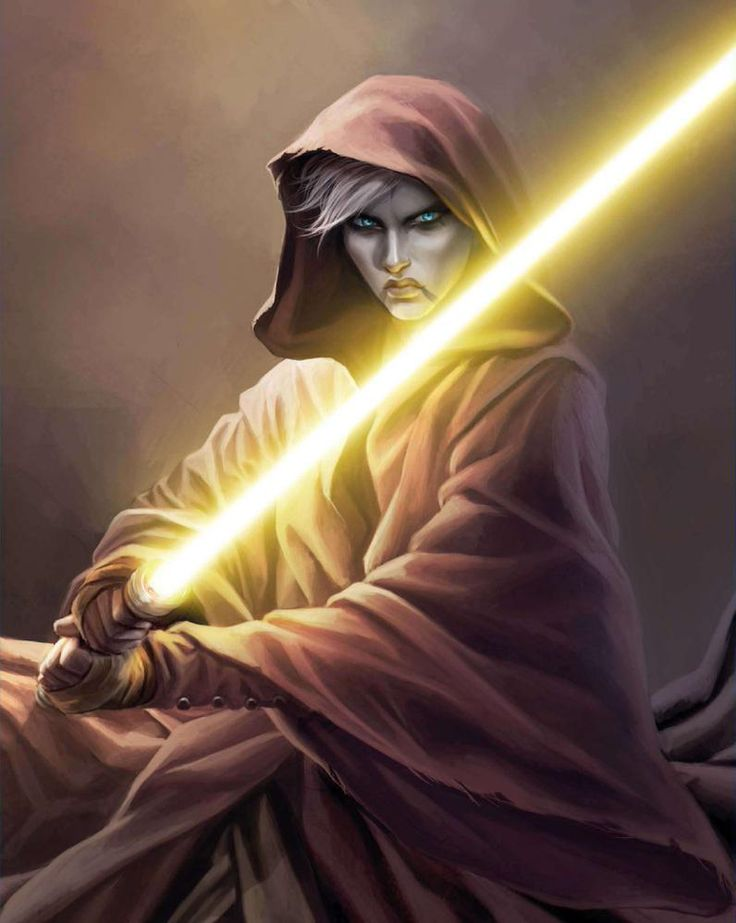 Asajj Ventress and her yellow-bladed lightsaber