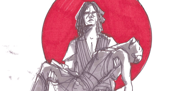 A sketch of Quinlan carrying Ventress's body
