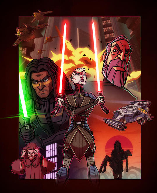 The cast of Dark Disciple in the style of The Clone Wars