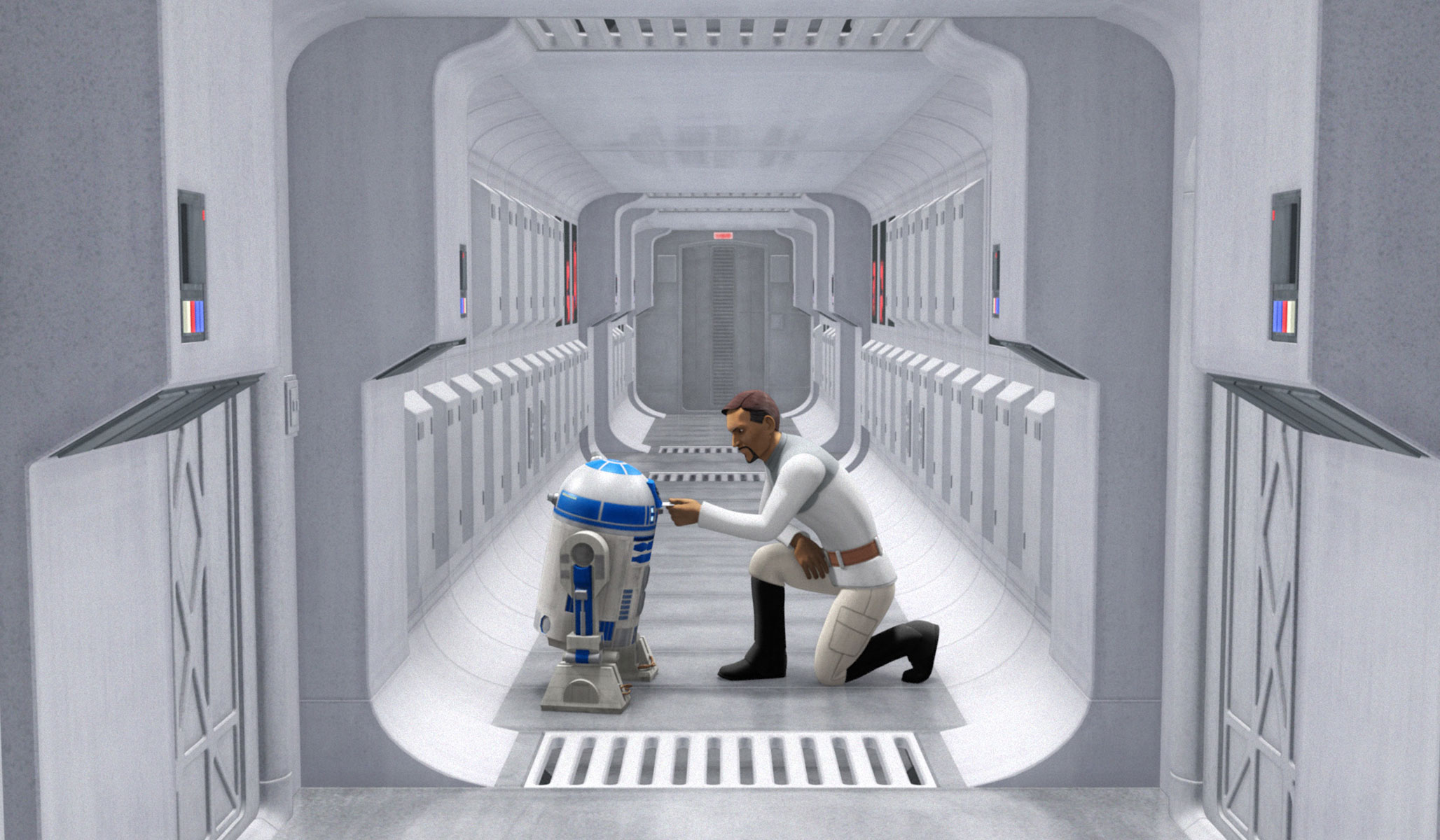 Bail Organa giving some orders to R2-D2 in The Clone Wars