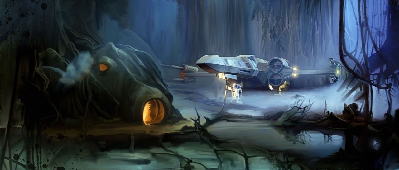 Luke's X-Wing on Dagobah by Brian Rood