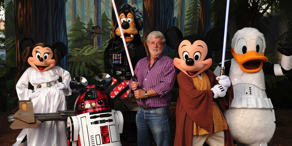 George Lucas alongside the Disney All Stars