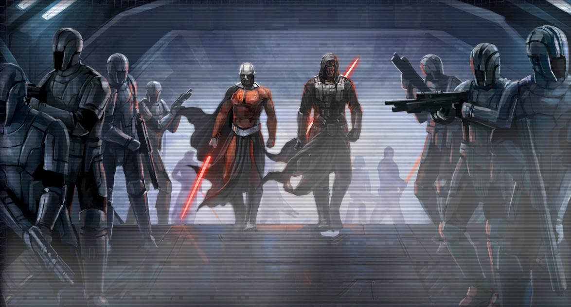 Darth Malak and Darth Revan with Sithtroopers