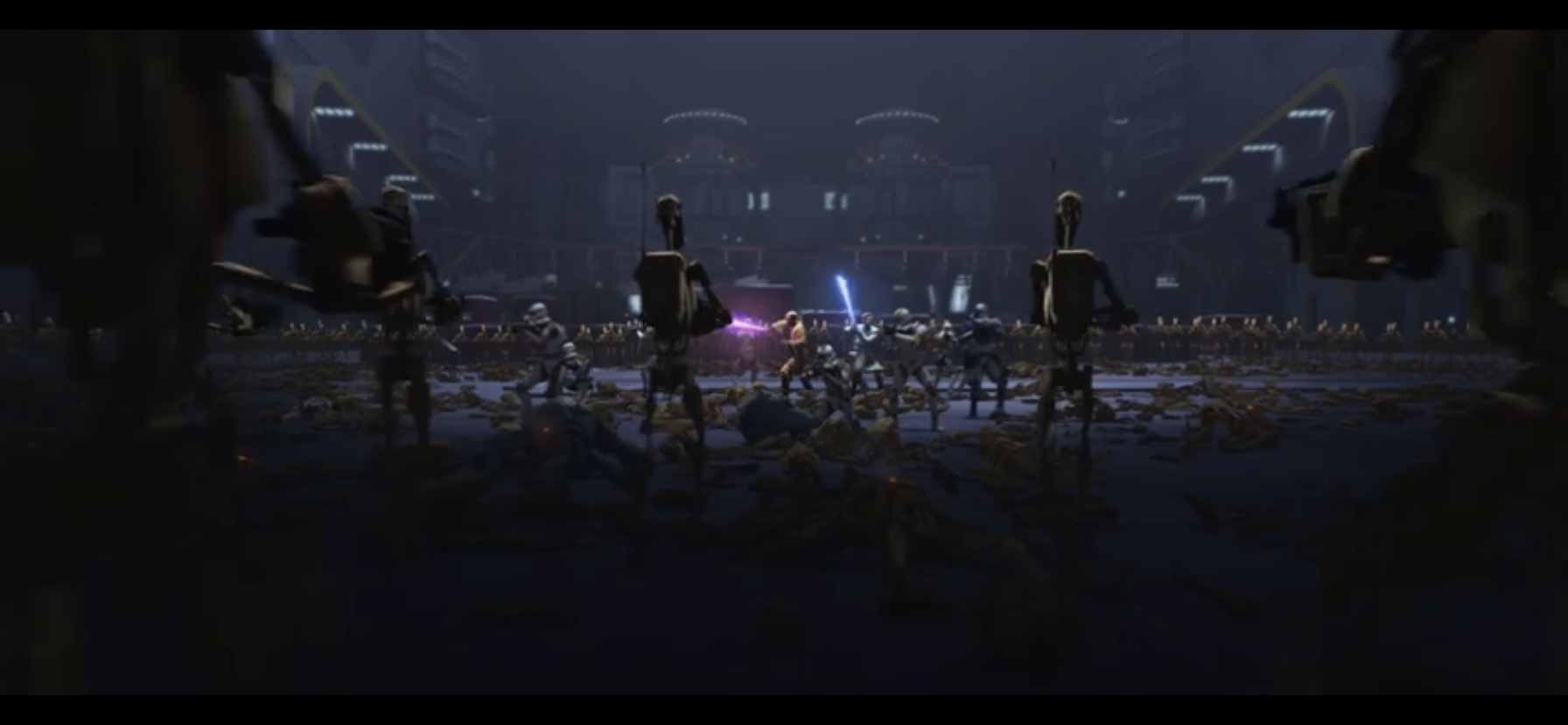 Obi-Wan & Mace Windu taking on an army of battle droids