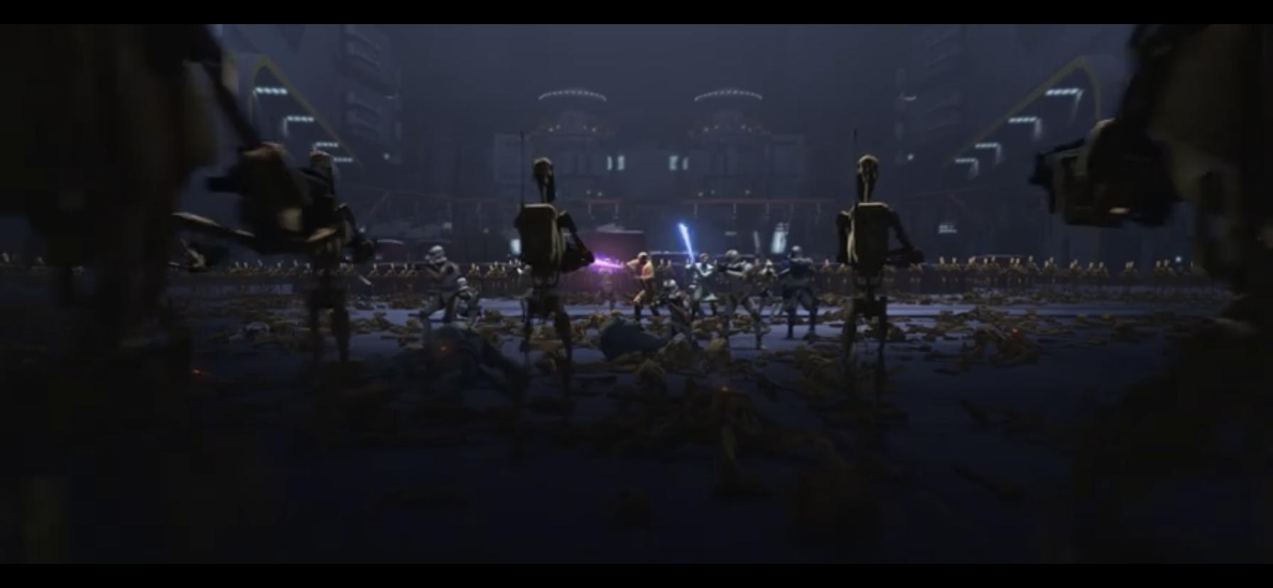 Obi-Wan & Mace Windu taking on an army of battle droids