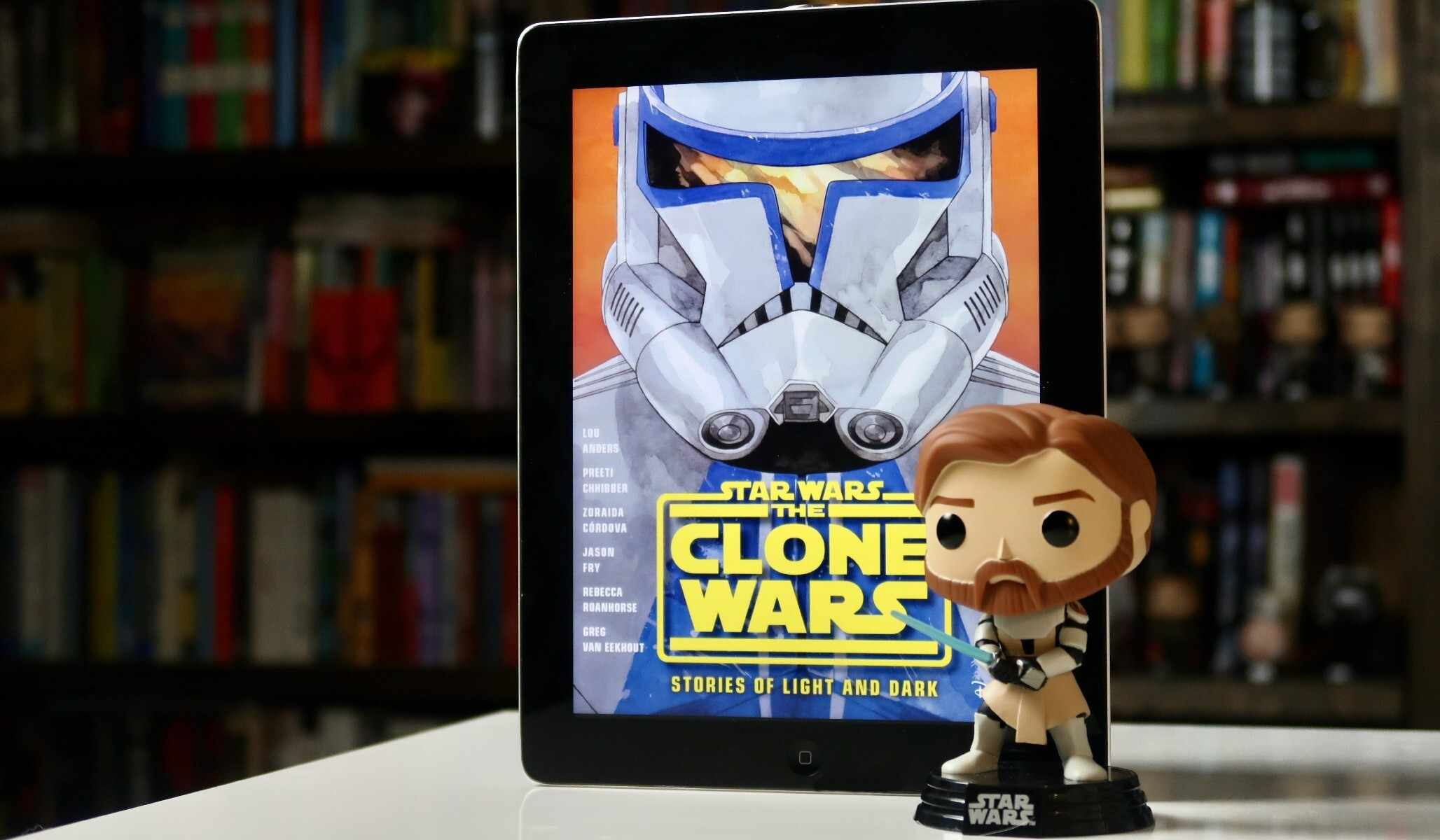 Star Wars: The Clone Wars -- Stories of Light and Dark cover and funko courtesy of Youtini