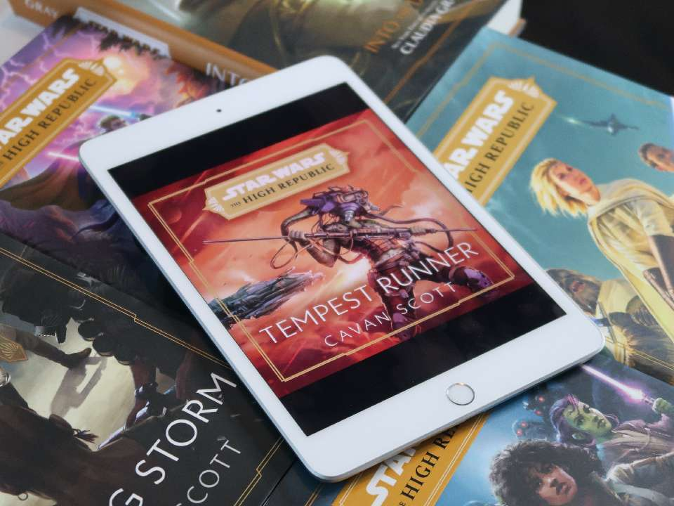 Tempest Runner cover on iPad amidst High Republic books