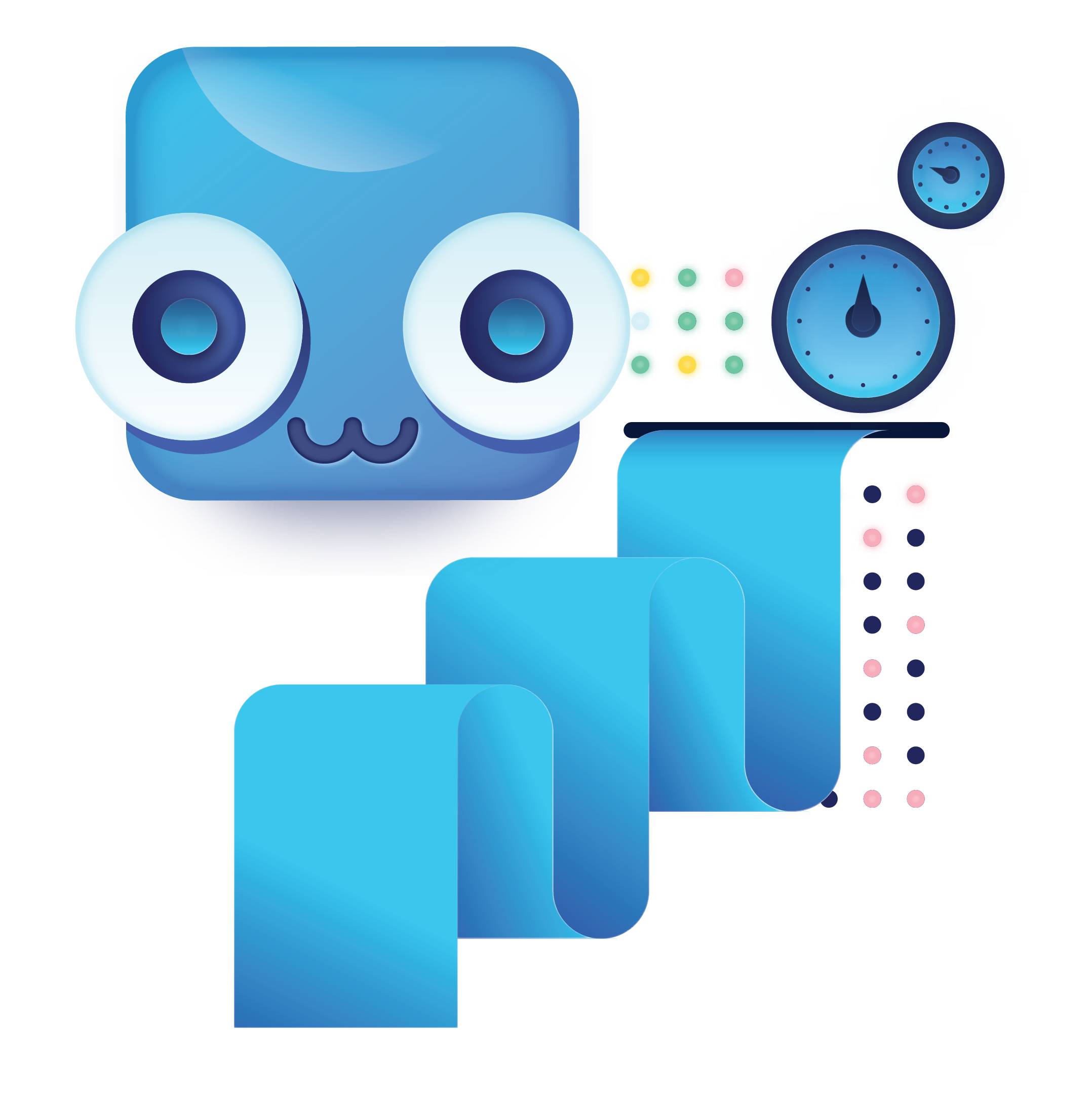 bigabid mascot robot and data output icons
