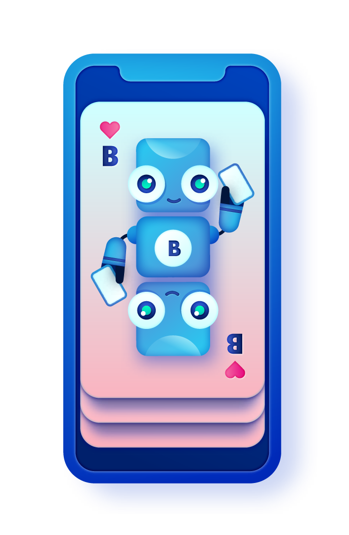 smartphone with bigabid mascot robot as a playing card