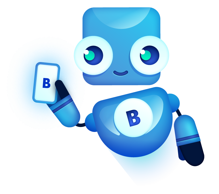 bigabid mascot robot with smartphone