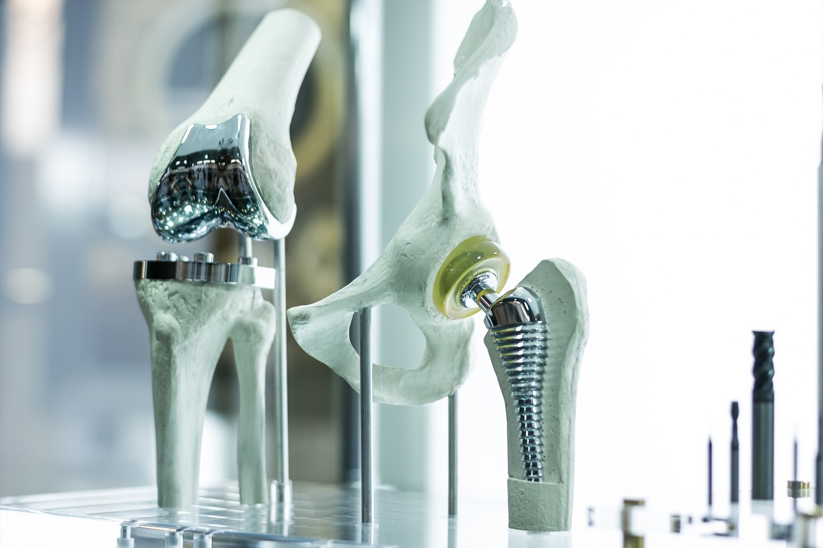 Metal hip and knee replacements on display