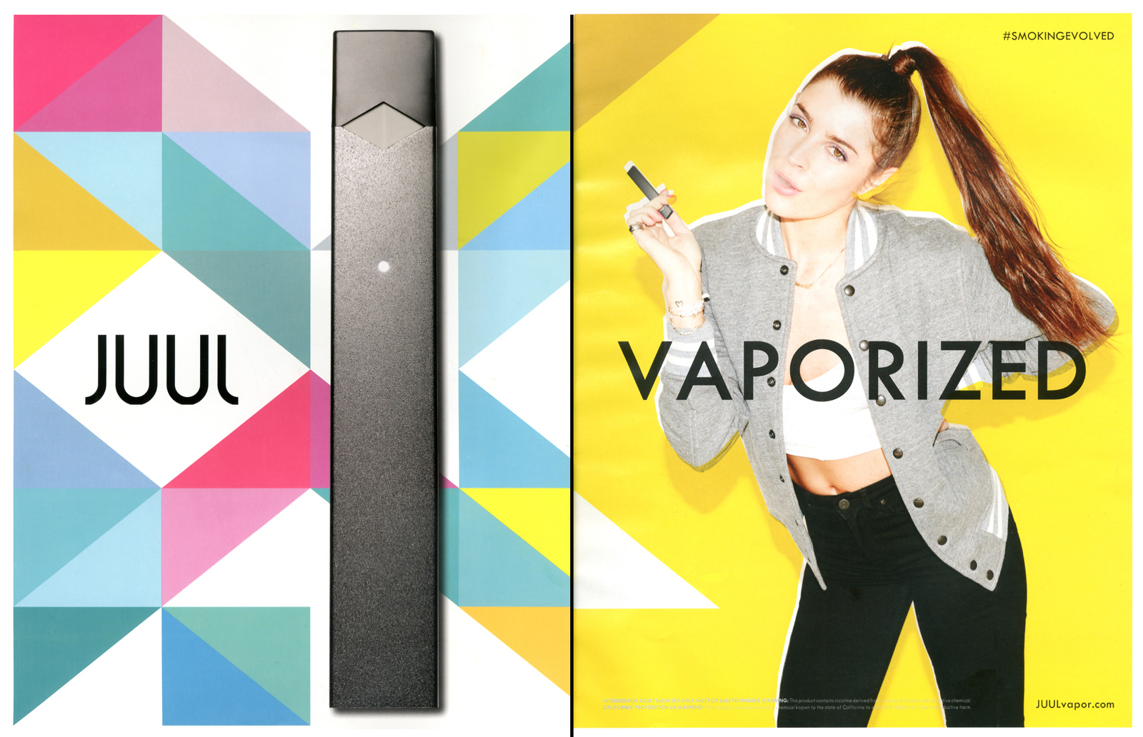 Juul Advertisement with multicolored shapes, a juul device and a young women smoking a Juul