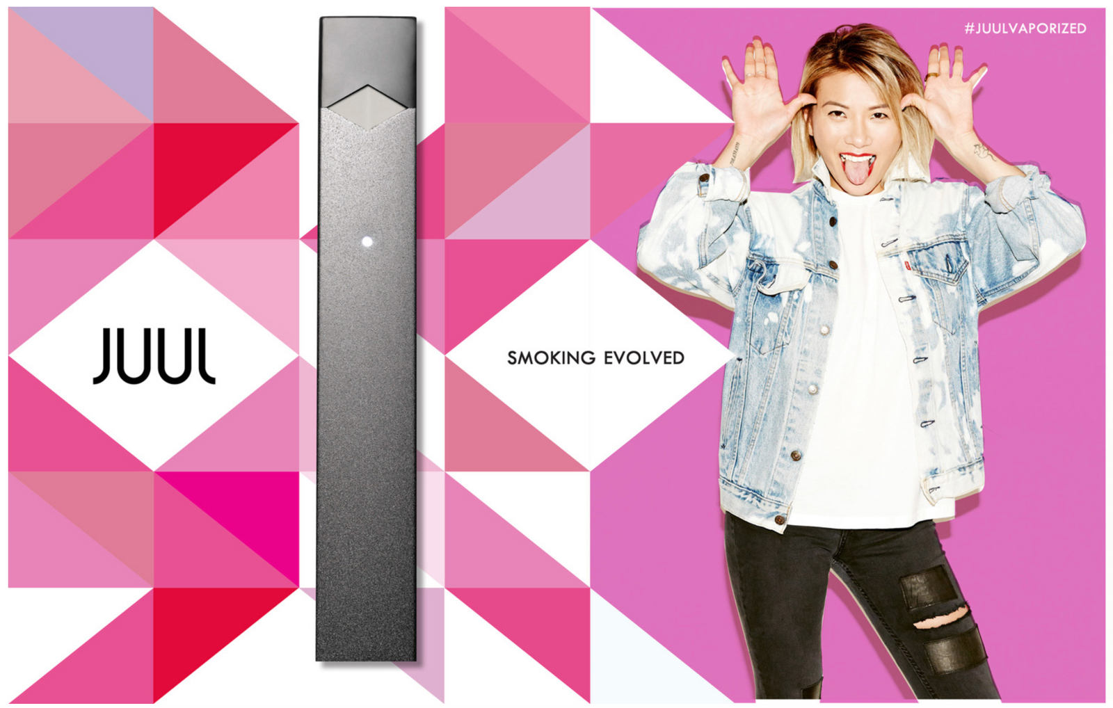 Juul Advertisement with multicolored shapes, a juul device and a young women making a funny face