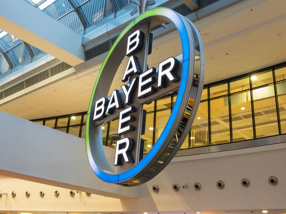 Illuminated sign of German pharmaceutical company Bayer AG in Frankfurt, Germany.