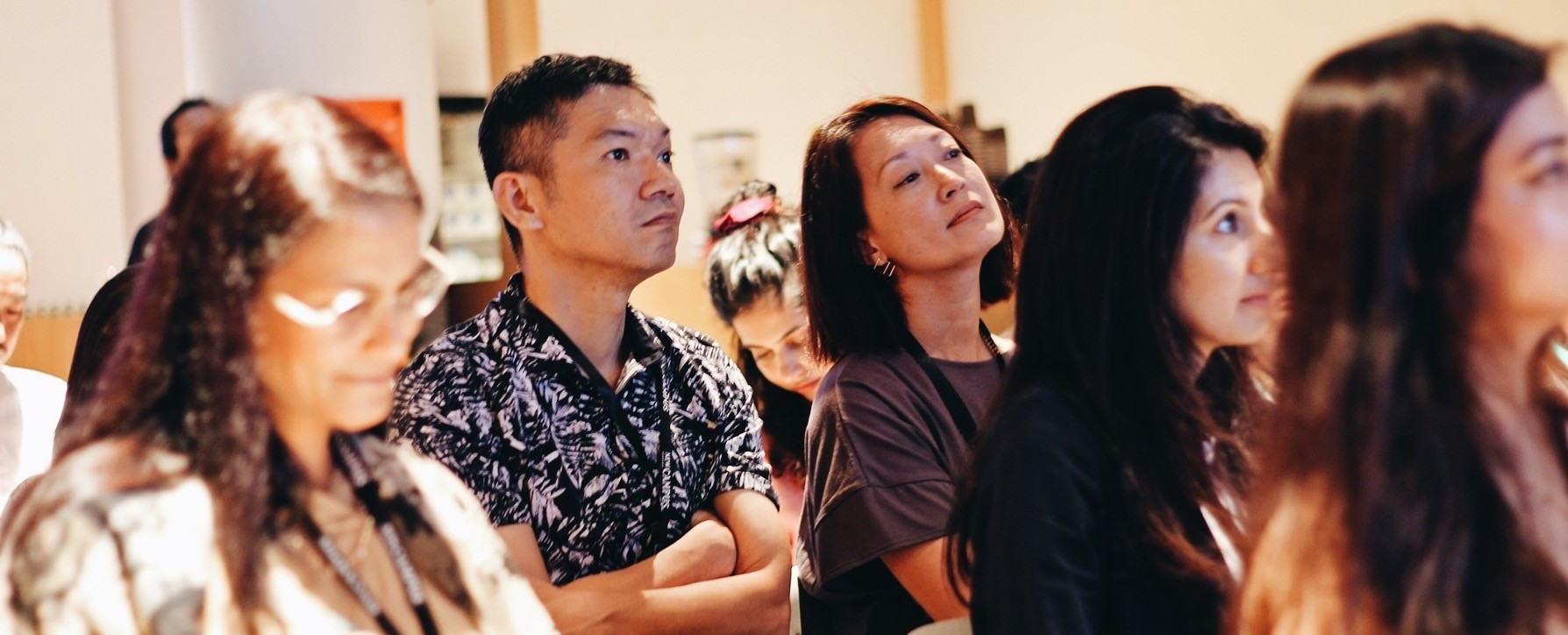 Attendees of the FastFwd Festival in 2019 listening to a speaker