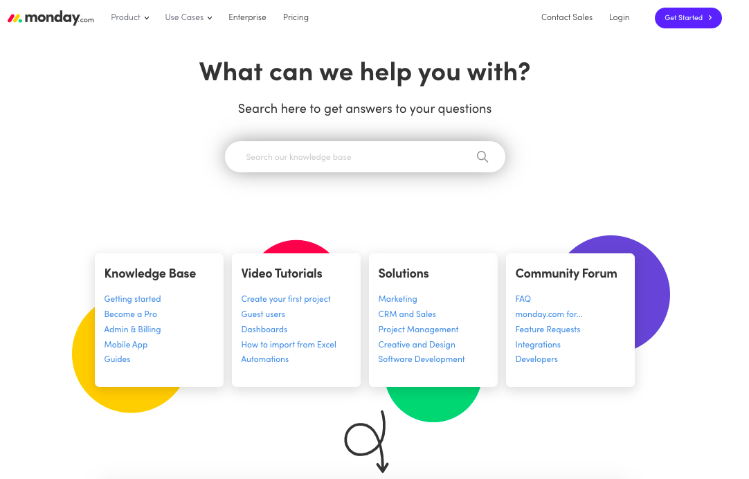 monday.com's customer support screen provides multiple options for customers seeking help.