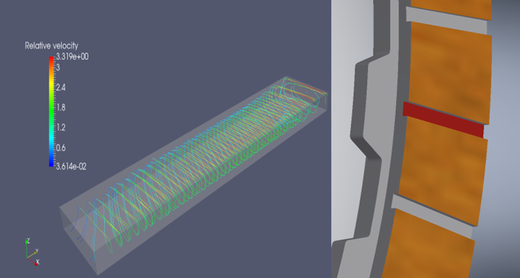 Example of a CFD simulation of fluid flow in a radial groove inlet