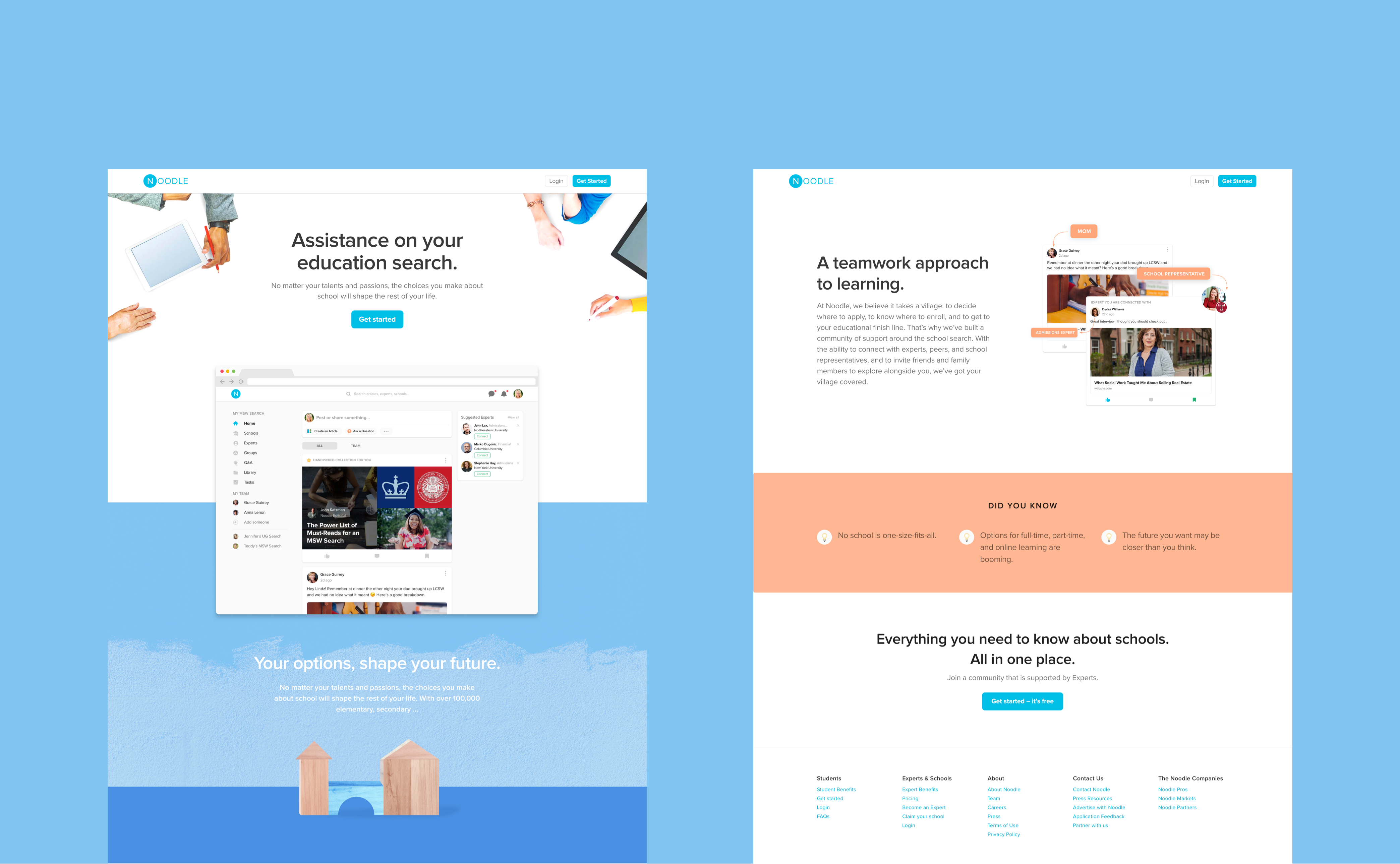 Noodle Education marketing website responsive design by RocketAir