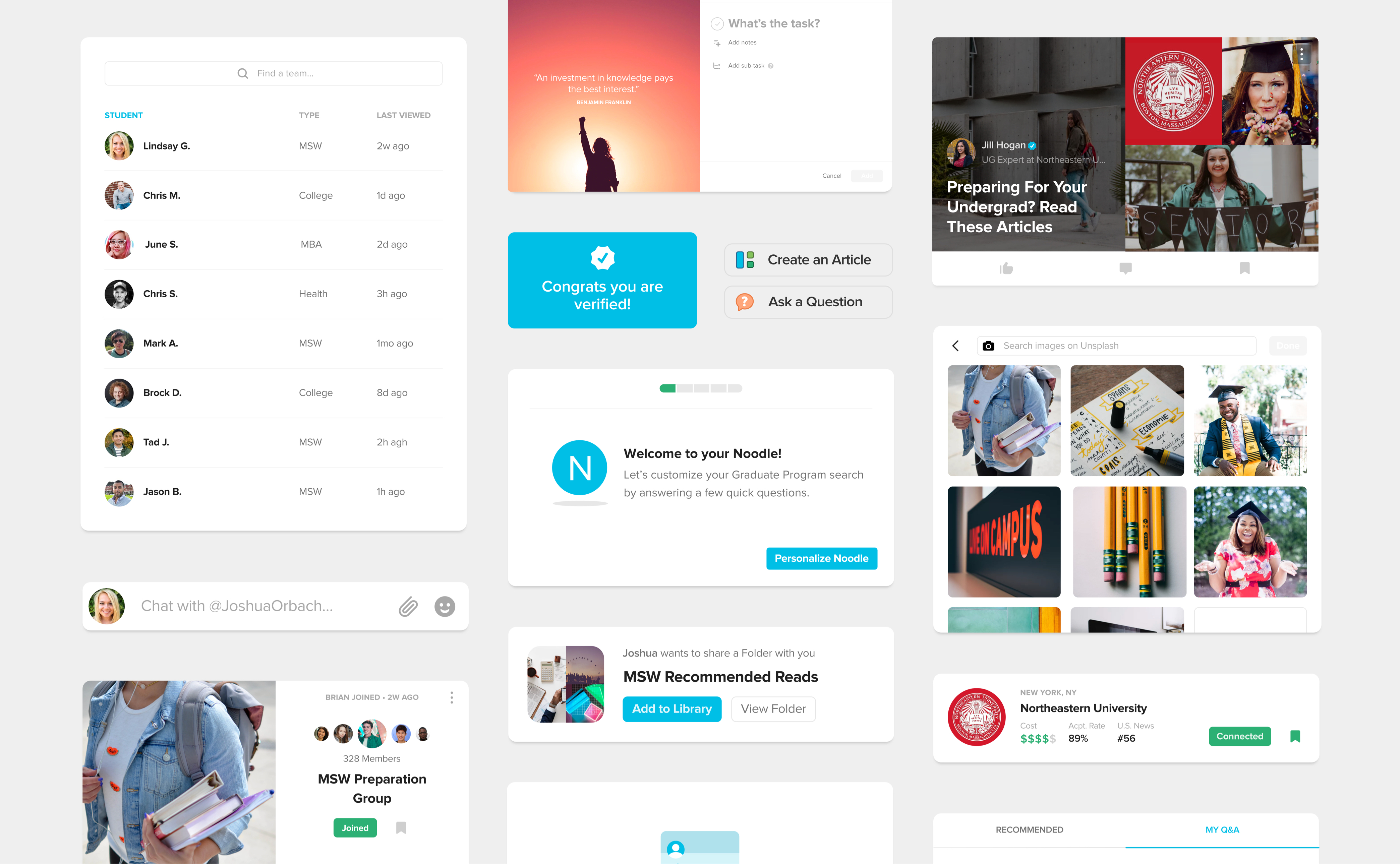 Noodle Education design system for social network by RocketAir