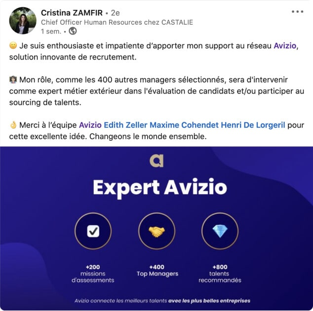 Cristina Zamfir fait partie du Réseau Avizio !