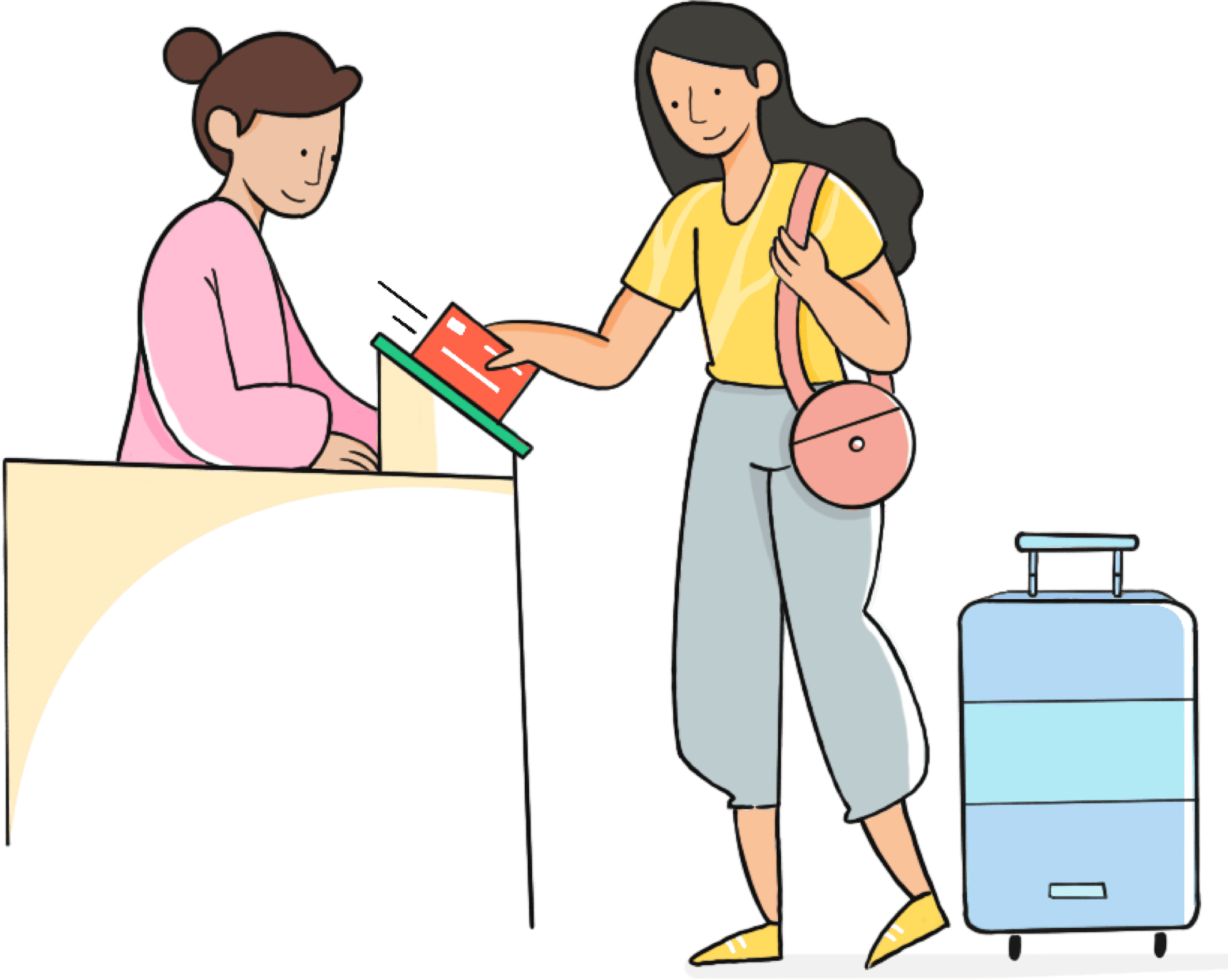 An employee swipes her physical card at an Airport on her way to a company retreat