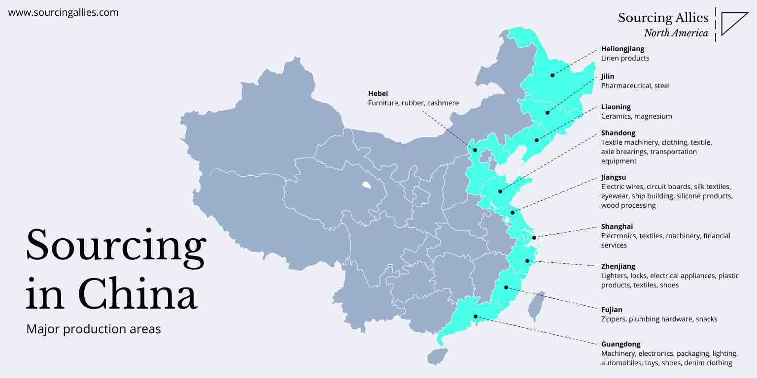 A map to help you find a China manufacturer