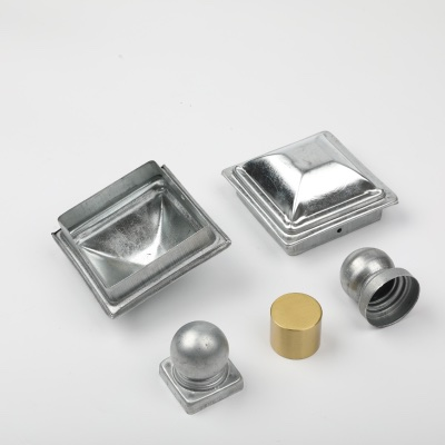 Handrail caps made with galvanized steel plate / brass