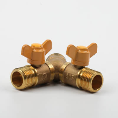 Brass, hose fitting, valve shaped as a Y, Y shaped